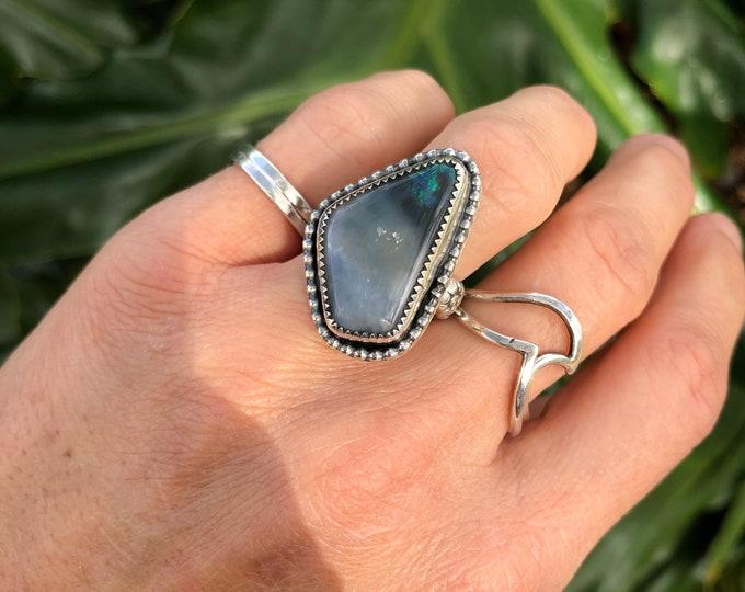 Australian Opal Ring, Statement Ring, Sterling Silver, Size 6.75, Southwestern Style, Boho Jewelry