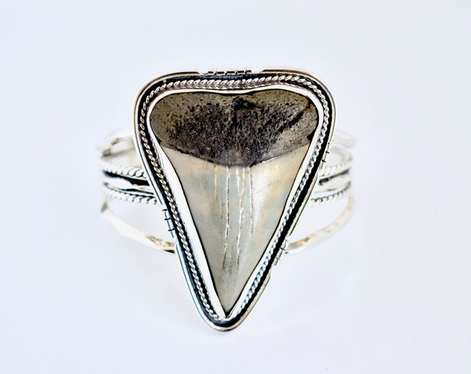 Shark Tooth Cuff, Sterling Silver, Fossil Jewelry, Statement Cuff, Southwestern Style, Boho, Ocean Inspired