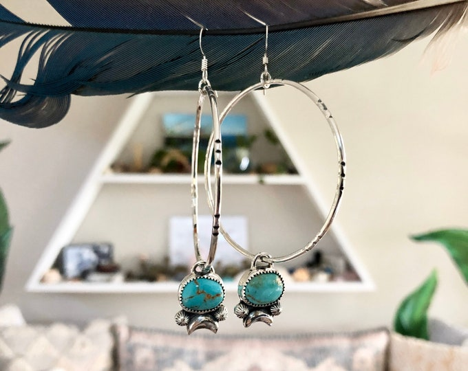 Turquoise Hoop Earrings, Sterling Silver, Boho Jewelry, Southwestern Jewelry, Gypsy Style, Crescent Moon