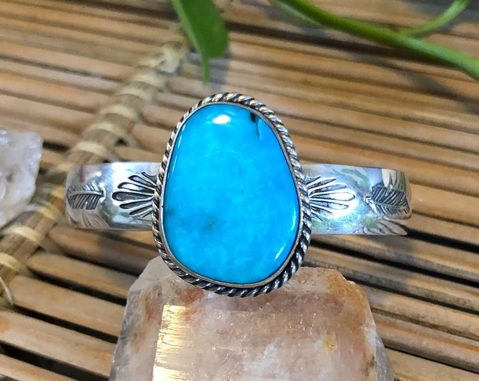 Turquoise Cuff, Sterling Silver, Size Small-Medium, Feather Design,  Stacking Cuff, Boho Jewelry, Southwestern Jewelry, Gift for Her