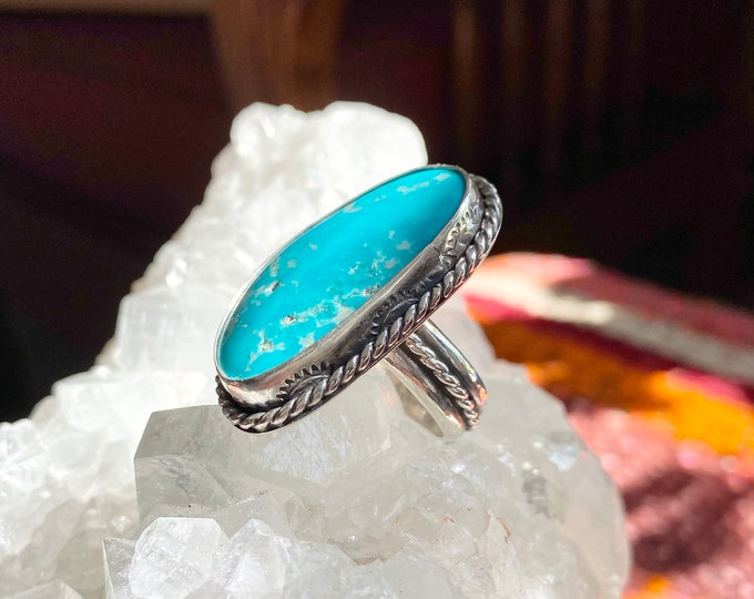 Rising Sun Turquoise Statement Ring, Size 8, Sterling Silver, Gypsy Ring, Big Jewelry, Stamped Design, Southwestern, Boho Ring