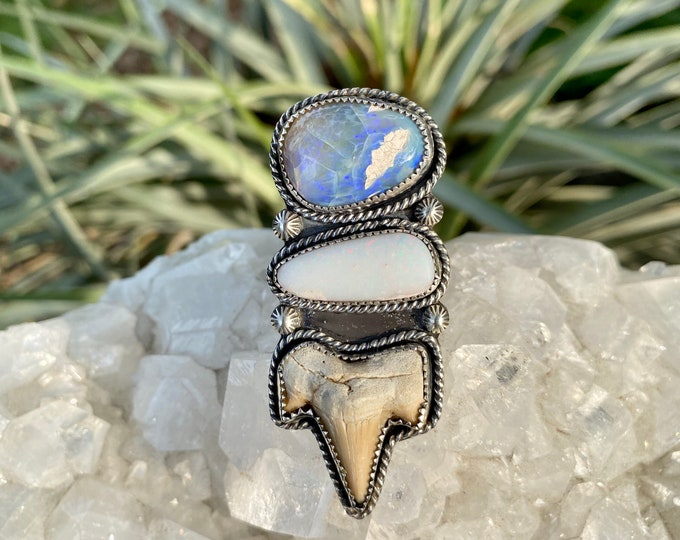 Shark Tooth Ring, with Double Australian Opals, Sterling Silver, Size 8-9.5, Ocean Inspired Ring, Fossilized Shark Tooth Ring, Gift for Her