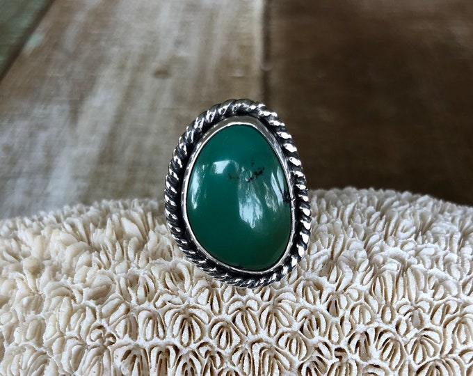 Hubei Tuquoise Statement Ring, Sterling Silver, Size 7-8.5, Boho Jewelry, Southwestern, Gypsy, Gift for Her, Festival Fashion