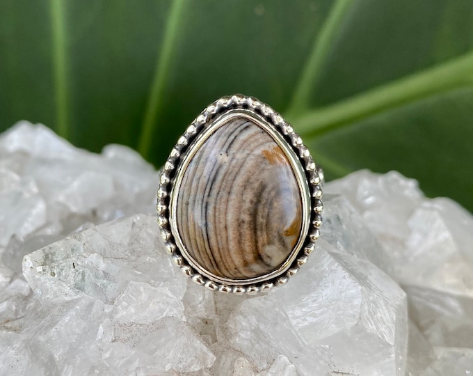 Jasper Teardrop Ring, Sterling Silver, Size 7.75-8.5, Natural Ring, Brown Gemstone, Southwestern Style Ring, Neutral Tone Jewelry, Natural