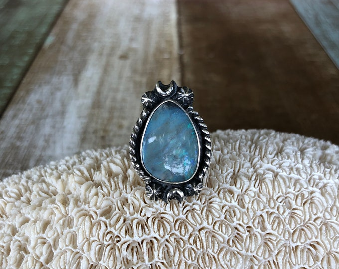 Australian Opal Statement Ring, Sterling Silver, Size 7-8.5, Boho Jewelry, Southwestern, Gypsy, Gift for Her, Festival Fashion