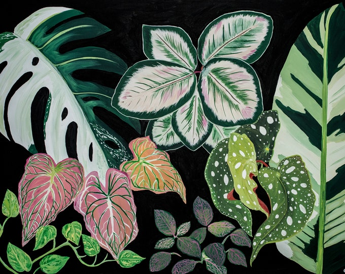 Crazy House Plant Lady Series 2 of 3, Matted Print of Original Painting, Jungalow, House Plant, Monstera, Begonia, Plant Vibes, Jungle, Boho