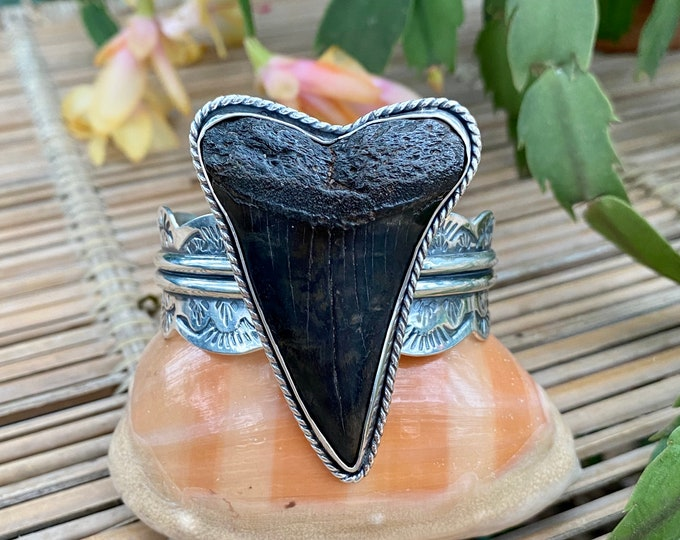 "Shark Tooth Statement Cuff, Sterling Silver, Medium - Large 5.75"", Stamped Design, Fossil Jewelry, Southwestern Jewelry, Ocean Inspired"