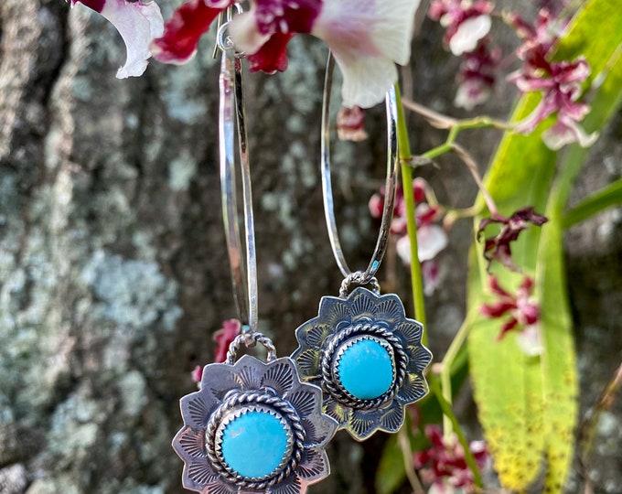 Turquoise Flower Hoop Earrings, Turquoise Hoops, Hammered Hoop Earrings, Sterling Silver, Floral Jewelry, Botanical, Nature Inspired, Gift