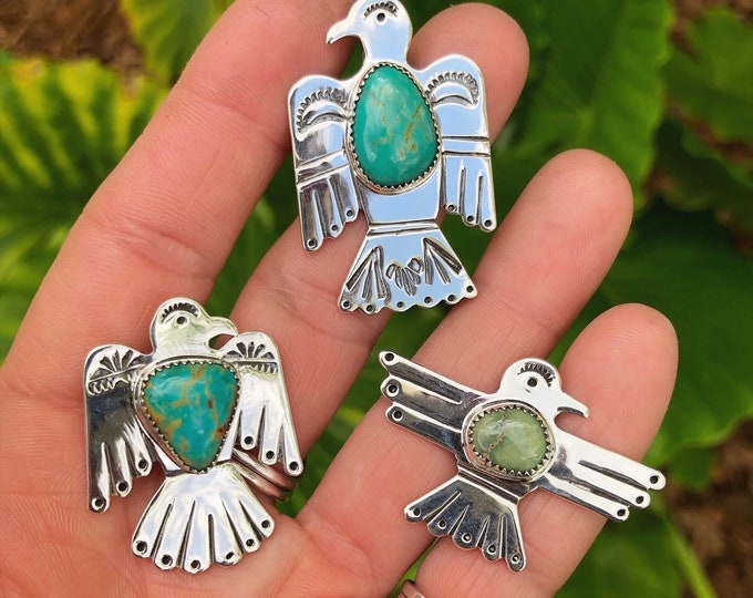 Thunderbird Pendant with Turquoise, Sterling Silver, Variscite, Southwestern Jewelry, Boho Style, Gypsy, Western