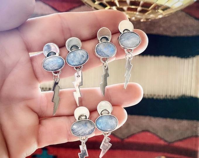 Thunder Moon Earrings, Moonstone, Sterling Silver, Stud Back, Dangle Earrings, Lightening Bolt, Boho Jewelry, Celestial, Crescent Moon