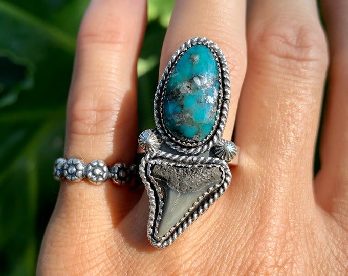 Shark Tooth and Turquoise Ring, Size 7.75-9.5, Sterling Silver, Campitos Mine Turquoise,  Boho Jewelry, Southwestern, Gypsy Style, Ocean