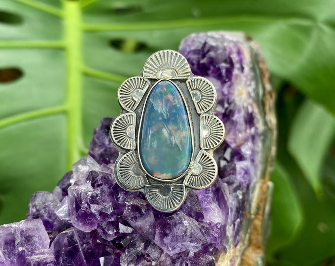 Australian Opal Ring, Sterling Silver, Size 8.5-10, Boho Style Ring, Rainbow Opal, Southwestern Style Jewelry, October Birthstone