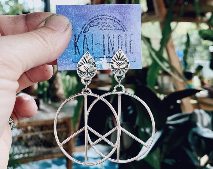 Peace Sign Boho Earrings, Sterling Silver, Stud Back, Large Hoops, Gypsy Style, Hippie Jewelry, Gift for Mothers Day