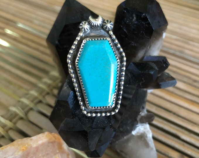 Turquoise Coffin Ring, Sz 7.75, Statement Ring, Sterling Silver, Kingman Turquoise, Boho, Gypsy, Gothic, Southwestern, Crescent Moon