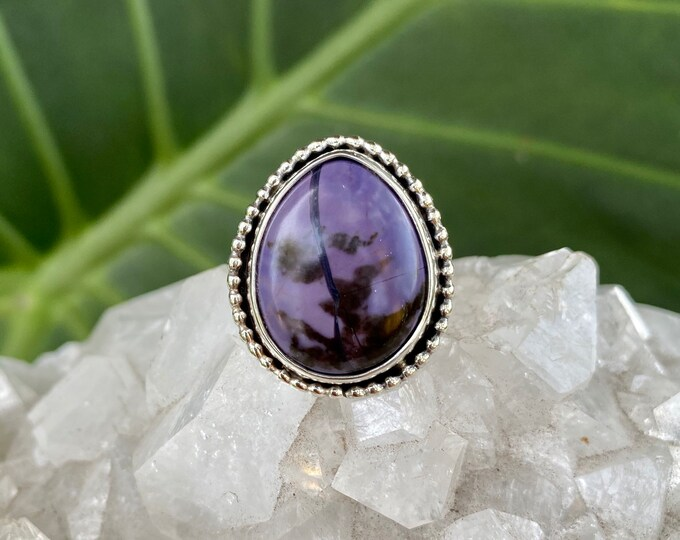 Tiffany Stone Ring, Sterling Silver, Size 8.25-10, Teardrop Shaped Ring, Purple Gemstone Ring, Boho Style Jewelry, Holiday Gift for Her
