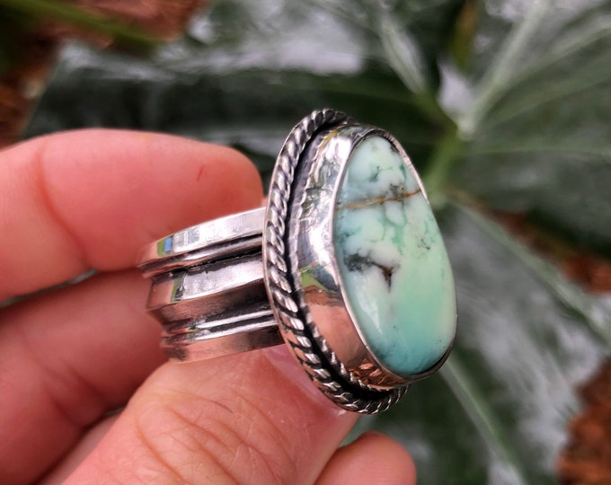 Chrysoprase Ring, Mens Ring, Size 11, Sterling Silver, Unisex Ring, Southwestern Style, Large Ring, Statement Jewelry