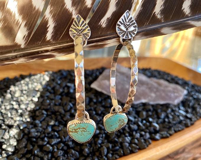 Turquoise Hoop Earrings, Sterling Silver, Gypsy Style, Large Hoop Earrings, Stud Back, Dangle Earrings, Boho Jewelry, Southwestern