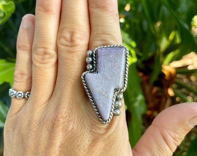 Lightening Bolt Ring, Lepidolite, Sterling Silver, Size 8.75-10, Thunder Bolt Ring, Metaphysical Jewelry, Holiday Gift for Her, Purple Stone