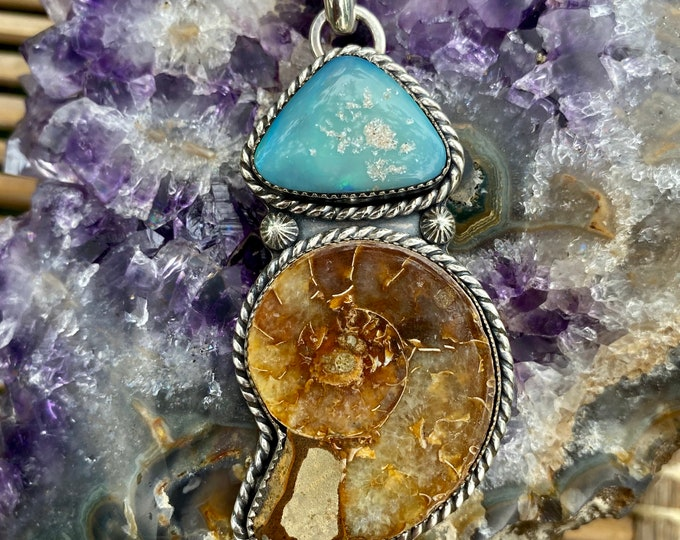 Ammonite Pendant, With Australian Opal, Sterling Silver, Fossil Necklace, Beach Jewelry, Ocean Inspired, Southwestern Style, Gift for Her