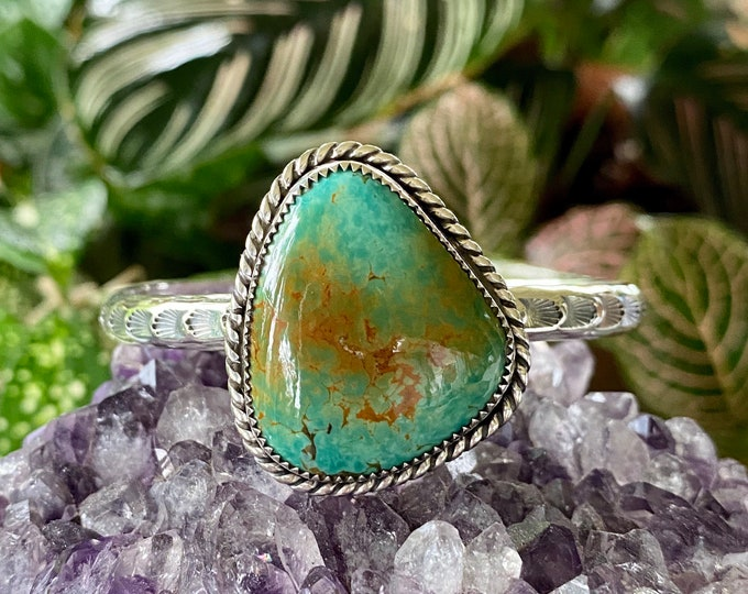 Turquoise Cuff, Sterling Silver, Size Small - Medium, Tyrone Mountain Turquoise, Green Turquoise, December Birthstone, Boho Style Jewelry