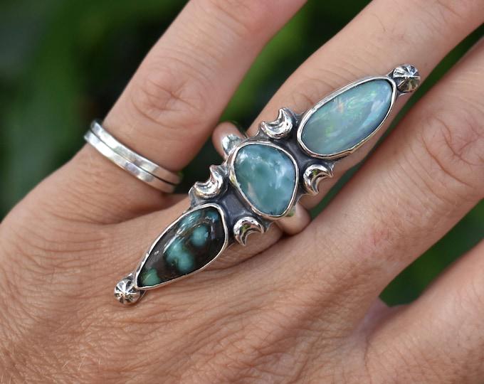 Triple Stone Statement Damale Variscite, Larimar, Australian Opal, Sterling Silver, Size 7-9, Boho Jewelry, Southwestern, Gypsy, Magic