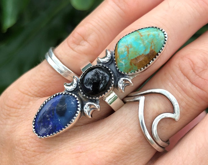 Triple Stone Statement Ring, Turquoise, Black Onyx, Australian Opal, Sterling Silver, Size 7.5-9.5, Boho Jewelry, Southwestern, Gypsy, Magic