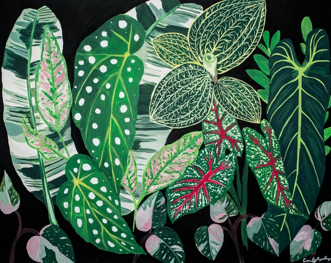 Crazy House Plant Lady Series 1 of 3, Matted Print of Original Painting, Jungalow, House Plant, Monstera, Begonia, Plant Vibes, Jungle, Boho