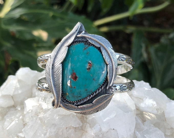 Turquoise Statement Cuff, Sterling Silver, Size Small - Medium, Feather Design, Southwestern Jewelry, Boho Style, Summer, Gypsy