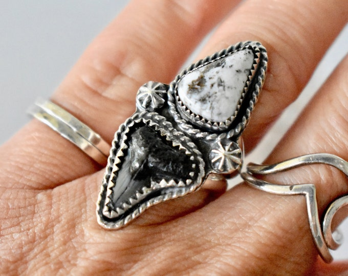 Shark Tooth and White Buffalo Statement Ring, Sterling Silver, Boho Jewelry, Gift for Her, Ocean Inspired, Southwestern, Fossil