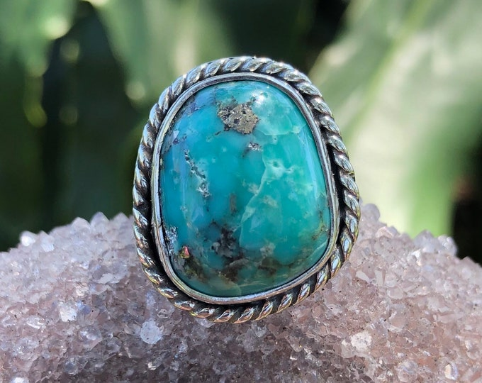 Turquoise Statement Ring, Sterling Silver, Size 6.5 - 7.5, Campitos Mine Turquoise, with Pyrite, Boho Jewelry, Southwestern, Gypsy