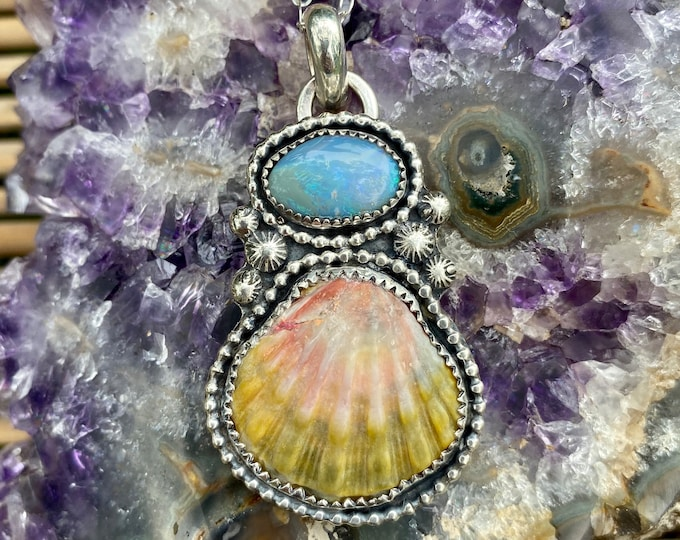 Hawaiian Sunrise Shell Necklace, With Australian Opal, Sterling Silver, Beach Jewelry, Ocean Inspired, Holiday Gift for Her, Mermaid Bling