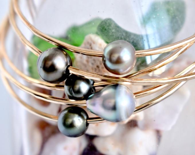Tahitian Pearl Bangle, Multiple Sizes, Gold Filled Bangle, Tahitian Pearl Bangles, Ocean Inspired, Mermaid Jewelry,  Pearl Jewelry