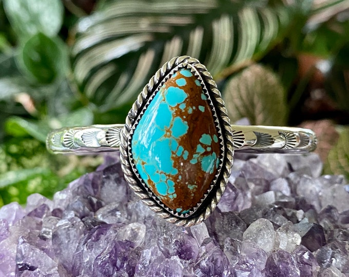 "Turquoise Cuff, Sterling Silver, Size Medium 5.5"", Stackable Cuff, Stacker Bracelet, Number 8 Turquoise, December Birthstone, Boho Jewelry"