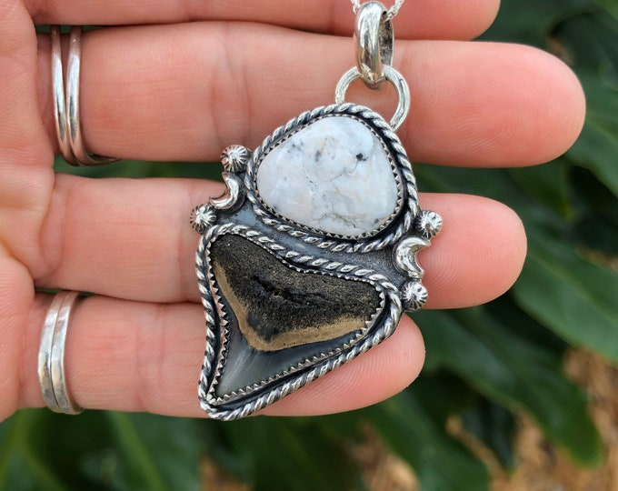 Shark Tooth and White Buffalo Pendant, Sterling Silver, Crescent Moon, Southwestern Style, Boho Jewelry, Fossil, Sharks Tooth