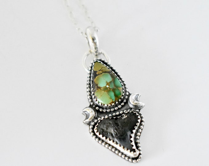 Shark Tooth and Hubei Turquoise Pendant, Sterling Silver, Southwestern Style, Boho Jewelry, Fossil, Gift for Her, Gypsy