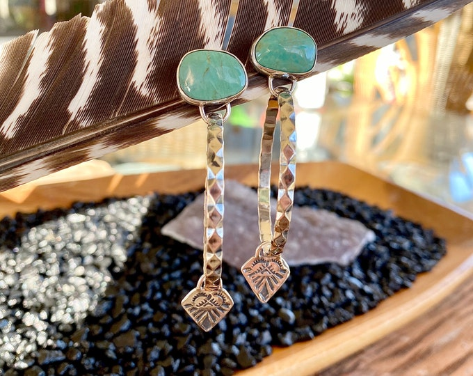 Turquoise Hoop Earrings, Sterling Silver, Stamped Design, Boho Jewelry, Southwestern Style, Gypsy Soul, Large Hoops, Gift for Her