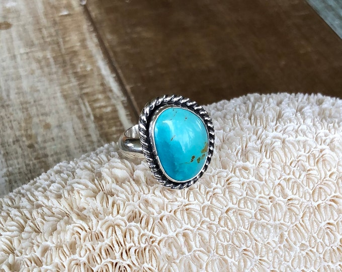 Turquoise Statement Ring, Sterling Silver, Size 8-10, Boho Jewelry, Southwestern, Gypsy, Gift for Her, Festival Fashion