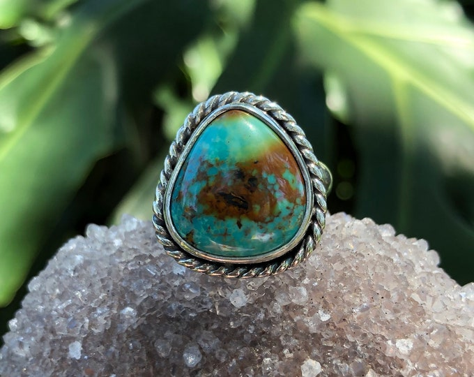 Turquoise Statement Ring, Sterling Silver, Size 6.5 - 7.5, Boho Jewelry, Southwestern