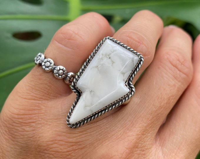 Lightening Bolt Ring, White Jasper, Sterling Silver, Size 6.75-8.75, White Gemstone Ring, Thunder Bolt Jewelry, Metaphysical Ring