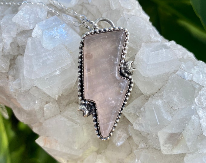 Lightening Bolt Necklace, Rose Quartz Pendant, Sterling Silver, Thunder Bolt, Southwestern Style Jewelry, Metaphysical, Pink Gemstone, Gift
