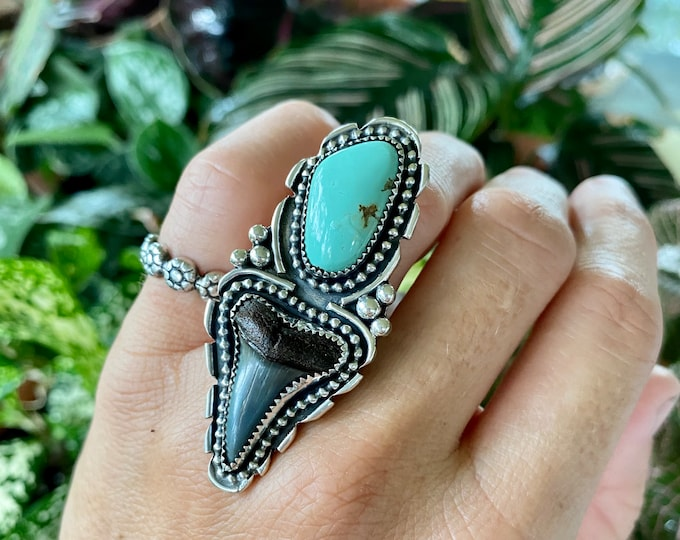 Turquoise and Shark Tooth Ring, Size 7, Sterling Silver, Fossilized Sharks Tooth, Ocean Inspired Jewelry, Southwestern Style, Boho Ring