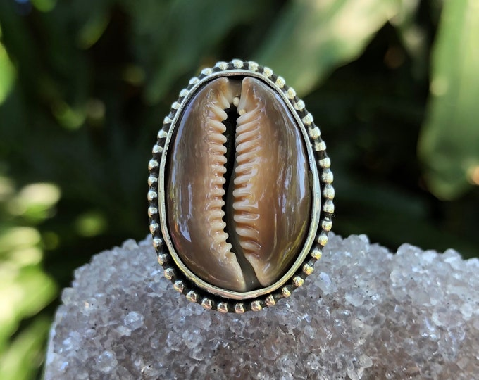 Cowrie Shell Ring, Sterling Silver, Hawaiian Shell, Statement Ring, Ocean Jewelry, Boho Style