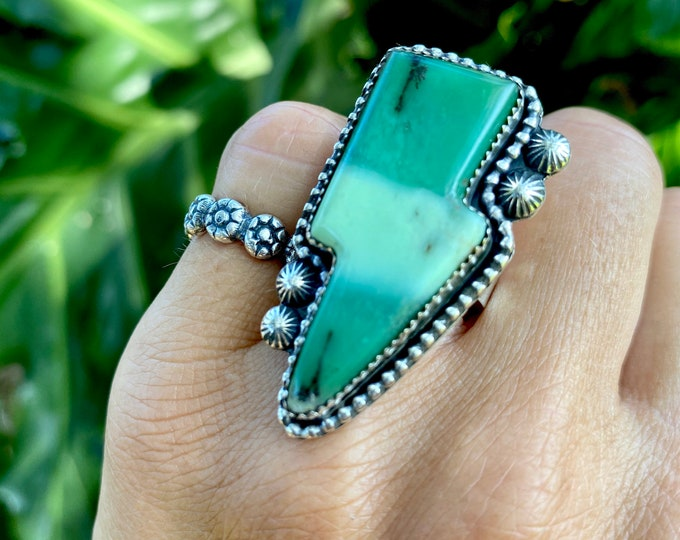 Lightening Bolt Ring, Chrysoprase, Sterling Silver, Size 6.75-8, Green Gemstone Ring, Large Ring, Metaphysical Jewelry, Gift for Her