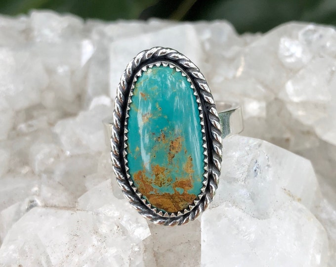 Turquoise  Statement Ring, Sterling Silver, Size 8.5-10, Boho Jewelry, Southwestern, Gypsy,