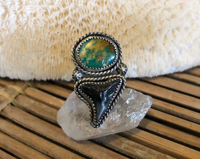 Shark Tooth and Turquoise Ring, Sterling Silver, Statement Ring,  Boho Jewelry, Southwestern, Gypsy Style, Gift for Her, Ocean Inspired