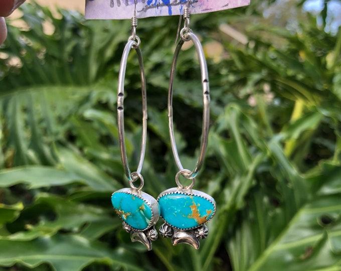 Turquoise Hoop Earrings, Sterling Silver, Boho Jewelry, Southwestern Jewelry, Moon Earrings, Celestial, Gypsy