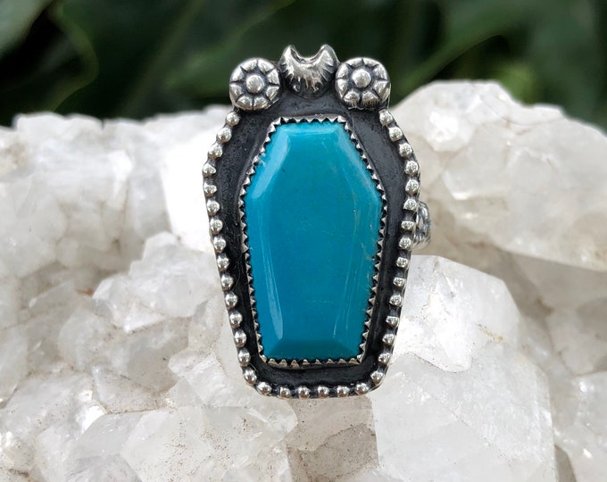 Turquoise Coffin Ring, Size 7.5, Statement Ring, Sterling Silver, Southwestern Style, Boho Jewelry, Gothic, Halloween, Dia de los Muertos