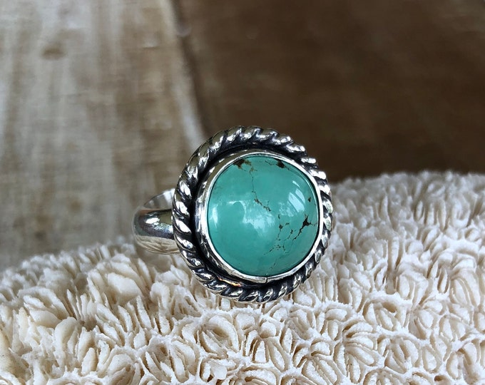 Turquoise Statement Ring, Size 6.75-8.75, Sterling Silver,  Boho Jewelry, Southwestern, Gypsy, Festival Fashion, Gift for Her