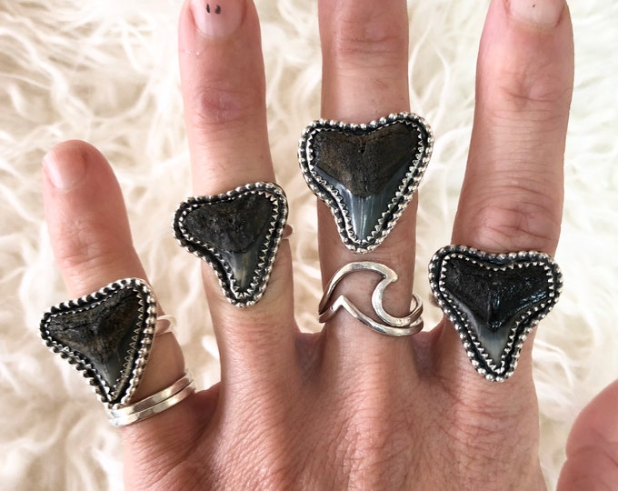 Shark Tooth Ring, Sterling Silver, Fossil Jewelry, Ocean Inspired, Mermaid, Beach, Southwestern