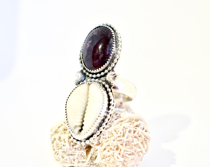 Amethyst and Cowrie Shell Statement Ring, Sterling Silver, Mermaid, Beach, Gypsy, Boho, Southwestern Jewelry, crescent moon, Valentines Day
